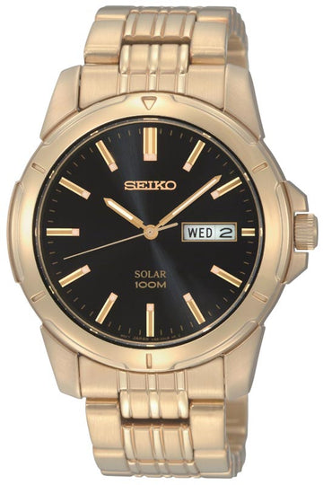 Seiko SNE100 Men's Yellow Gold Steel Bracelet Black Dial Solar Powered Day Date Watch