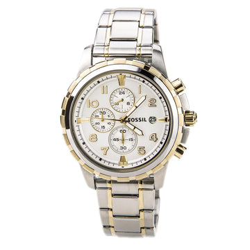 Fossil FS4795 Mens Dean White Dial Two Tone Steel Bracelet Chronograph Watch