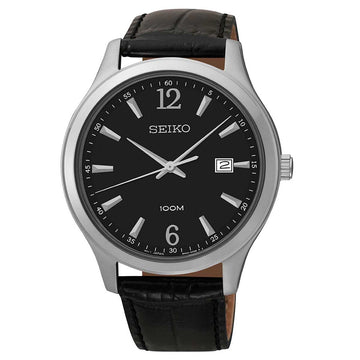 Seiko SUR055 Men's Black Dial Black Leather Strap Watch