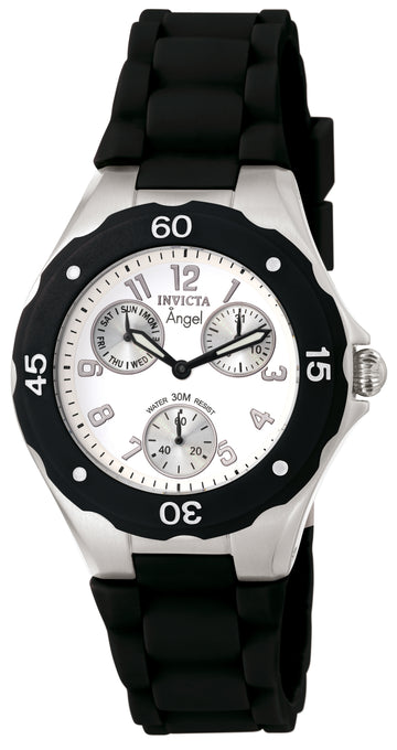 Invicta 0733 Women's Black Polyurethane Strap Quartz Angel White Dial Day-Date Watch
