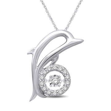 Sterling Sterling Silver 1/10 Ctw Moving Diamond Sea Life Pendant