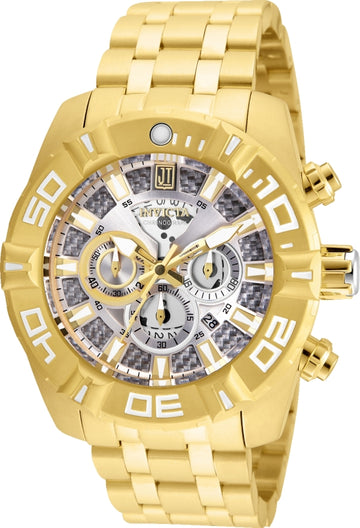 Invicta 24846 Men's Jason Taylor Silver Dial Yellow Gold Steel Bracelet Chronograph Watch