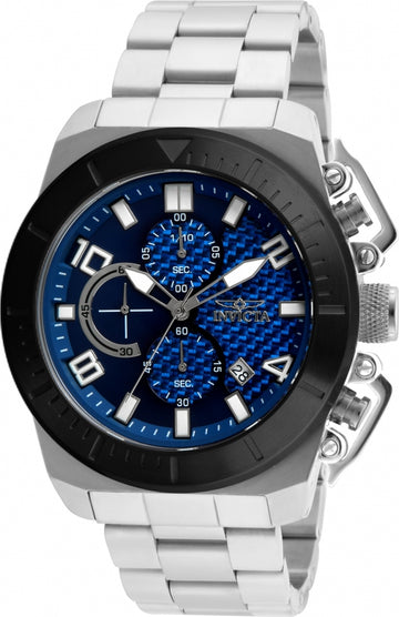 Invicta 23405 Men's Pro Diver Chronograph Blue Dial Stainless Steel Bracelet Watch