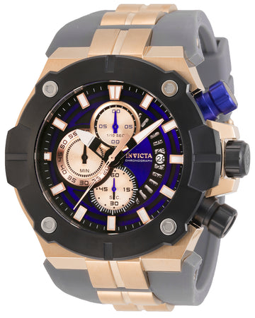 Invicta Men's Chronograph Watch - Sea Hunter Blue & Rose Gold Tone Dial Strap | 29836