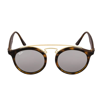 Ray-Ban RB 4256 60926G 49 Gatsby I Round Tortoise Propionate & Gold Metal Frame Grey Mirror Lenses Women's Sunglasses