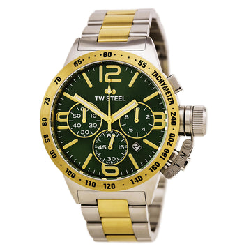 TW Steel CB63 Men's Canteen Bracelet Two Tone Yellow Gold Steel Chronograph Green Dial Date Watch