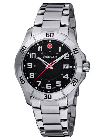 Wenger 70487 Men's Stainless Steel Black Dial Watch