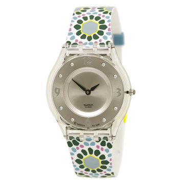 Swatch SFK327 Women's Floralia Botanical Bomb Silver Sunray Dial Silicone Strap Swiss Quartz Watch