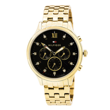 Tommy Hilfiger 1781612 Women's Amelia Crystal Accented Black Dial Yellow Gold Steel Day Date Watch