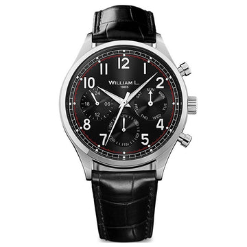 William L. 1985 WLAC03NRCN Men's Calendar Black Dial Black Leather Strap Day Date Watch