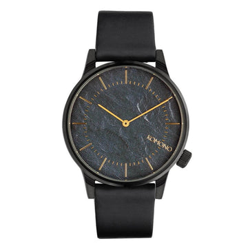 Komono Men's Strap Watch - Winston Pewter Blue Dial Black Leather | KOM-W3014