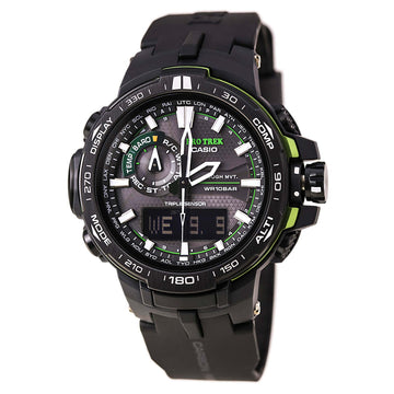 Casio PRW6000Y-1A Men's ProTrek Triple Sensor Black Resin Strap Alarm Ana-Digi Black Dial Watch