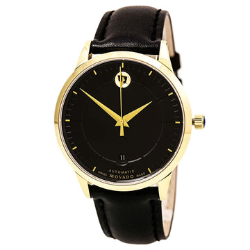 Movado 0606875 Men's 1881 Automatic Yellow Gold Steel Black Leather Strap Black Dial Date Watch