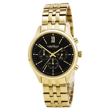 Caravelle 44A108 Men's Dress Black Dial Yellow Gold Steel Chronograph Watch