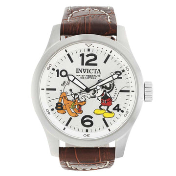 Invicta 22874 Men's Disney Limited Edition White Dial Brown Leather Strap Watch