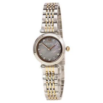 Bulova 98P156 Women's Quartz Two Tone Rose Gold Bracelet Mother of Pearl Dial Diamond Watch