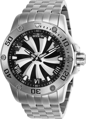 Invicta Men's Automatic Watch - Speedway Silver & Black Dial Steel Bracelet | 25847