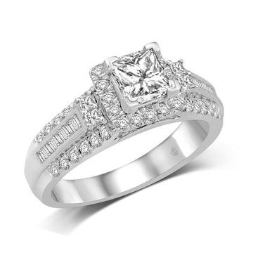 14K White Gold 3/5 Ct.Tw. Diamond Fashion Semi Mount Engagement