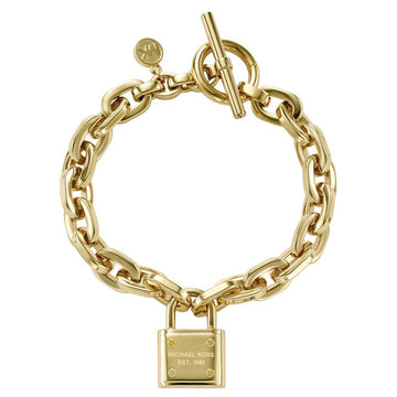 Michael Kors Women's PadLock Chain-Link Bracelet - Yellow Gold Steel | MKJ3311710