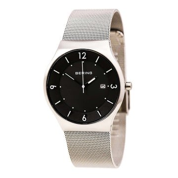 Bering 14440-002 Men's Solar Black Dial Milanese Steel Mesh Bracelet Watch