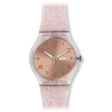 Swatch SUOK703 Unisex Pink Glistar Rose Gold Dial Transparent Pink Silicone Strap Watch