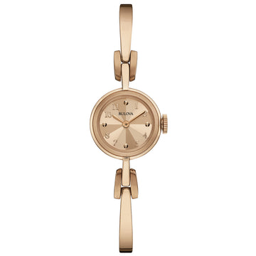 Bulova 97L156 Women's Classic Rose Gold Dial Rose Gold Plated Steel Bangle Bracelet Watch
