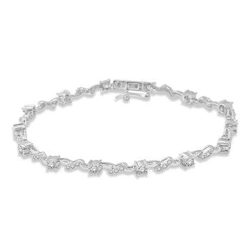 14K White Gold 1 1/4 Ctw Diamond Fashion Bracelet