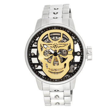 Invicta 22928 Men's S1 Rally Skeleton Gold Skull Dial Steel Bracelet Mechanical Watch