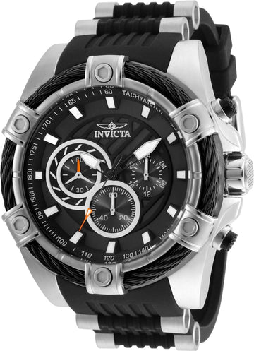 Invicta Men's Chronograph Watch - Bolt Black Polyurethane & Steel Strap | 25523