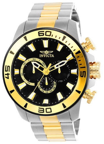 Invicta 22588 Men's Pro Diver Black Dial Two Tone Yellow Steel Bracelet Chronograph Watch