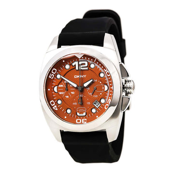 DKNY NY1446 Men's Chrono Quartz Rubber Strap Orange Watch