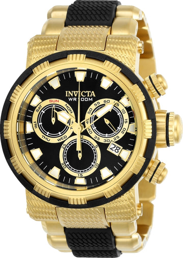Invicta Men's Chronograph Watch - Specialty Steel & Polyurethane Bracelet Black Dial
