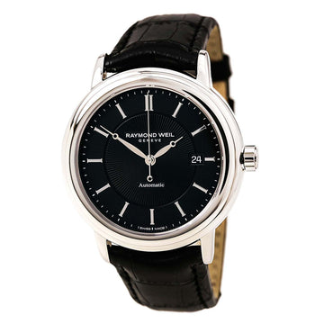 Raymond Weil Men's Automatic Watch - Maestro Black Dial Leather Strap | 2847-STC-20001