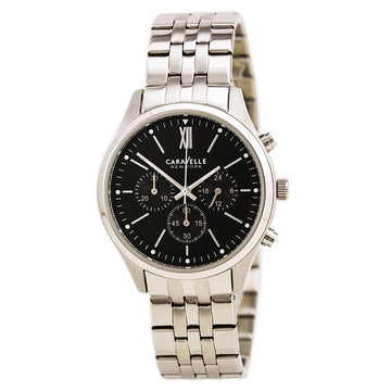 Caravelle 43A133 Men's Dress Black Dial Stainless Steel Chronograph Watch