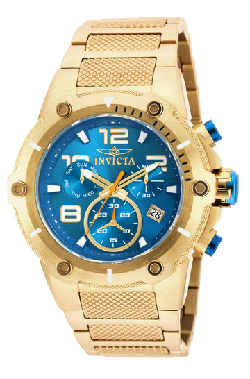 Invicta 19532 Men's Speedway Blue Dial Yellow Gold Steel Bracelet Chronograph Watch