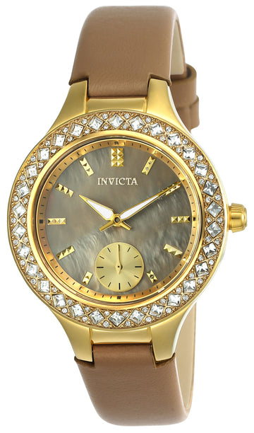 Invicta 24556 Women's Wildflower Beige Oyster Dial Beige Leather Strap Crystal Watch