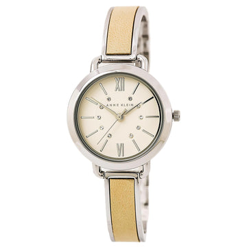 Anne Klein 2437TNSV Women's Beige Dial Leather & Steel Bangle Bracelet Swarovski Crystal Watch