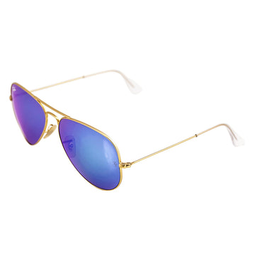 Ray-Ban RB 3025 112-17 58 Aviator Blue Flash Lenses Unisex Gold Metal Frame Sunglasses