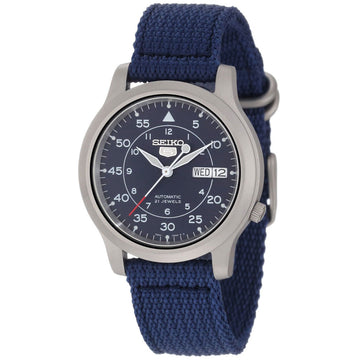 Seiko SNK807 Men's 5 Blue Canvas Strap Blue Dial Automatic Day Date Watch
