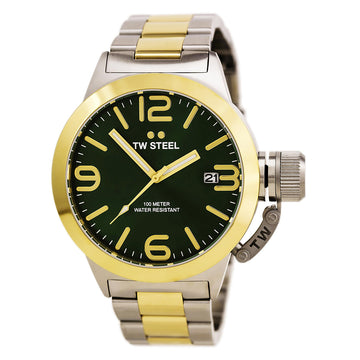 TW Steel CB61 Men's Canteen Bracelet Quartz Green Dial Two Tone Yellow Gold Steel Watch