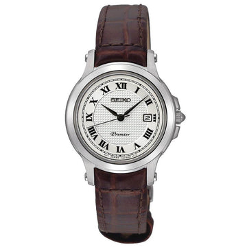 Seiko SXDE01P2 Women's Premier White Dial Brown Leather Strap Watch