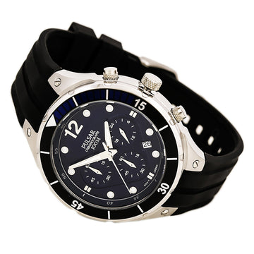 Pulsar PT3639 Men's On The Go Blue Dial Chronograph Black Silicone Strap Quartz Date Watch