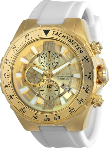 Invicta 24578 Men's Aviator Gold Tone Dial White Silicone Strap Chronograph Watch