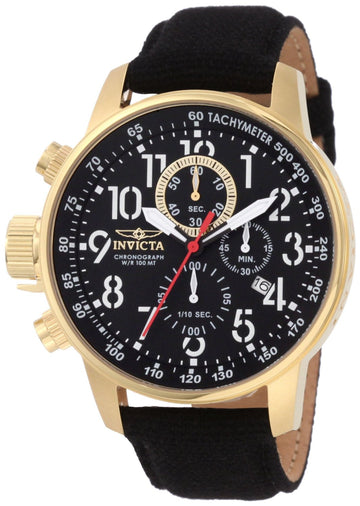 Invicta Men's Chronograph Watch - I Force Lefty Black Dial Leather Band | 1515