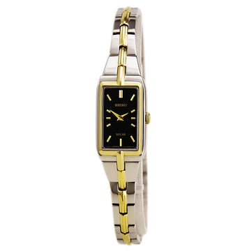 Seiko SUP274 Women's Solar Core Black Dial Two Tone Yellow Gold Steel Quartz Watch