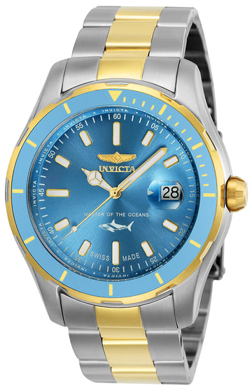 Invicta Men's Two Tone Bracelet Watch - Pro Diver Quartz Metallic Blue Dial | 25817