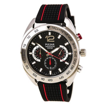 Pulsar PT3633 Men's On The Go Black Dial Chronograph Watch