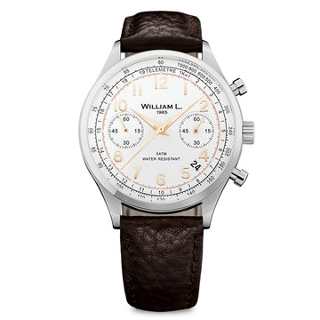 William L. 1985 WLAC01BCORBM Men's Chronographs White Dial Brown Buffalo Watch