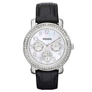 Fossil ES2969 Women's Black Leather Band Boyfriend Crystal Mother of Pearl Dial Day-Date Watch