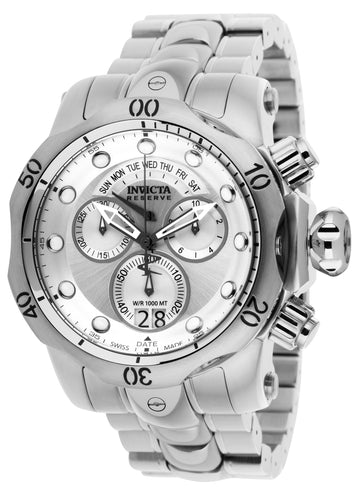 Invicta 1537 Men's Steel Bracelet Swiss Quartz Reserve Venom Chrono Silver Dial Day-Date Watch